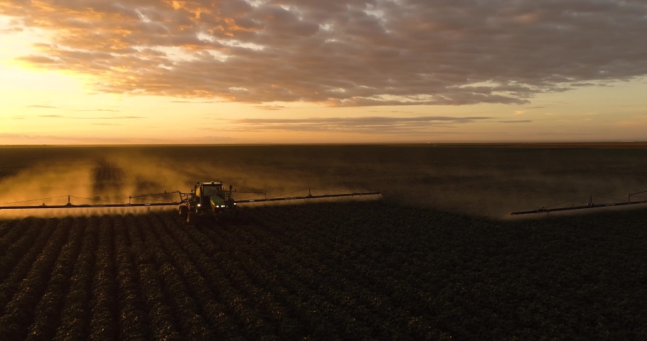 Agriculture, beautiful aerial image of machines spraying cotton plantation in the open field with beautiful sunset - Agribusiness. | Shutterstock HD Video #1047539965