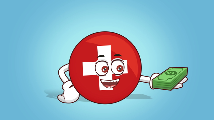 Cartoon Icon Flag Switzerland Face Animation Money in Hand with Luma Matte | Shutterstock HD Video #1047545662