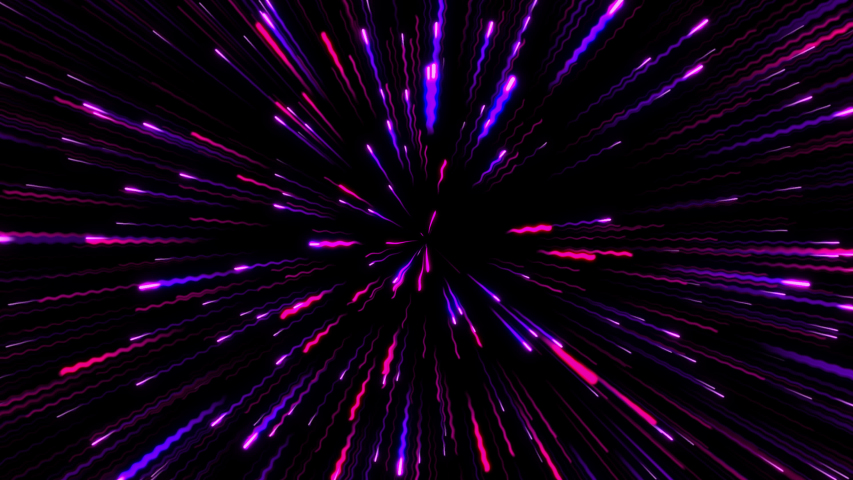 Animation of flying through hyperspace. Trails of star field in motion. Abstract tunnel speed of light, neon glowing rays. Flow of colorful lines in cosmos | Shutterstock HD Video #1047555259