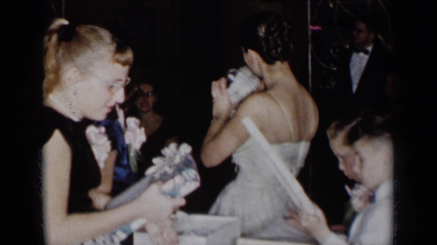 NEW YORK-1954: Young Bride's Wedding Day Featuring Child And Gifts #1047570916