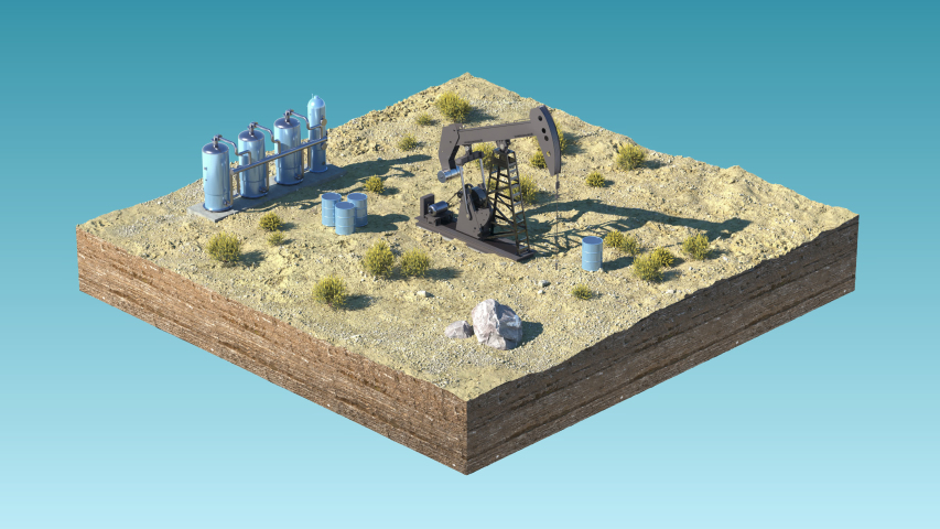 Oil pump jack at a drill site in a desert with oil barrels and refinery tanks on a floating island. Loopable 4K 3D render with mask/matte. Perfect for explainer or infographic. | Shutterstock HD Video #1047581086