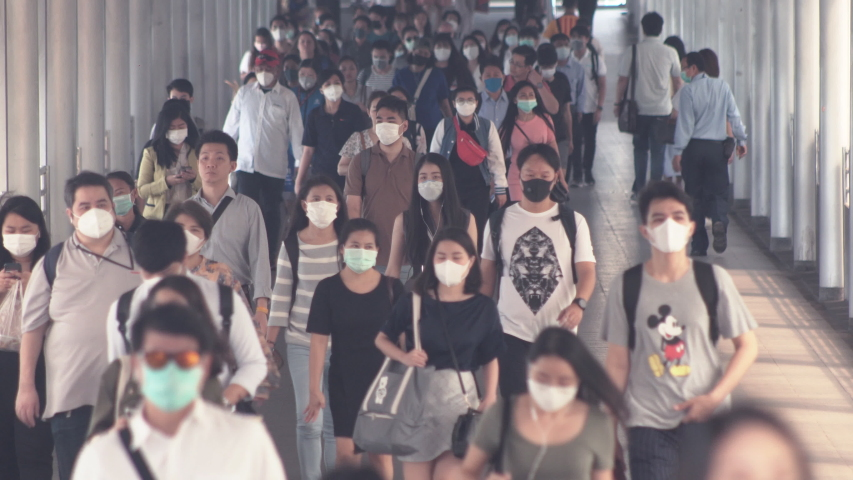 2nd March 2020. Bangkok, Thailand. Crowd wear protective mask for protect Coronavirus, Covid 19 virus during virus outbreak and PM2.5 air pollution crisis in Bangkok Thailand.
