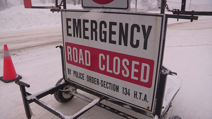 Bruce county, Ontario ,Canada December 2019 Road closed sign after winter snow storm and blizzard makes travel unsafe