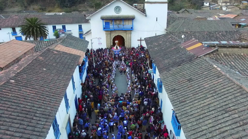 Feast of the Virgen del Carmen procession in Paucartambo Peru. The feast of the Virgen del Carmen de Paucartambo is a religious and folkloric celebration that takes place in Paucartambo, Cusco. Royalty-Free Stock Footage #1047640534