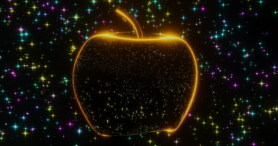 3d render with a luminous transparent fruit on a starry background