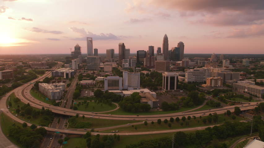 Charlotte, North Carolina circa-2019. Aerial view of Charlotte at sunset. Shot from helicopter with Cineflex gimbal and RED 8K camera.