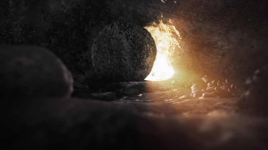 Easter Background - The Stone Is Rolling From Jesus' Tomb | Shutterstock HD Video #1047673303