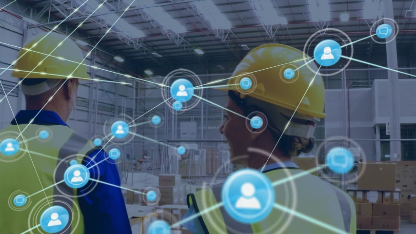 Animation of network of connections with people icons, digital data processing with busy Caucasian male warehouse workers in helmets and yellow vests in the background. Digital network of global | Shutterstock HD Video #1047683287