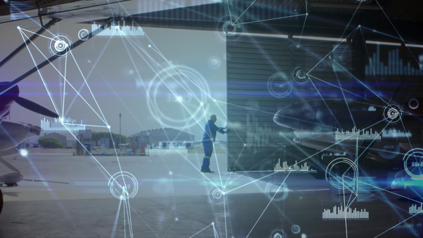 Animation of global network of connections and data processing air traffic control system, with aeroplanes in the airport and airport worker opening hangar in the background. Global connections travel | Shutterstock HD Video #1047686314