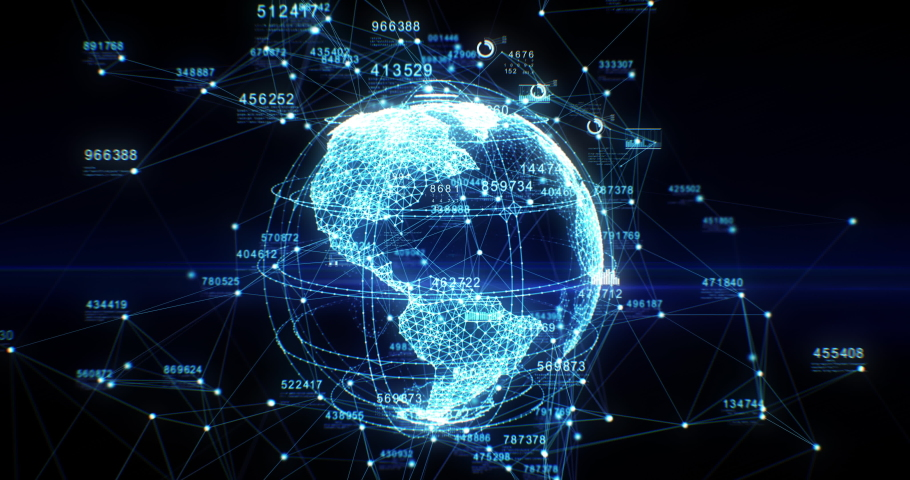 Beautiful Earth Hologram Creation from Dots and Lines Cyberspace. Futuristic Technological Digital Planet with Numbers Rotation. Business and Technology Concept. 4K Ultra HD 4096x2160 3d animation. #1047702799