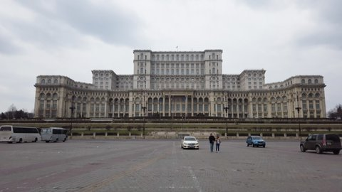 Bucharest,Romania-02/22/2020:Palace of the Parliament.heaviest building in the world