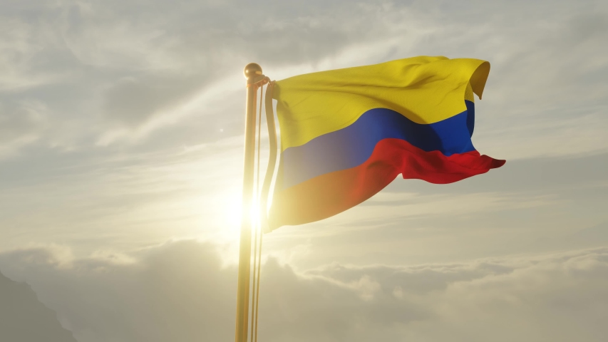 Flag of Colombia Waving in the wind, Sky and Sun Background, Slow Motion, Realistic Animation, 4K UHD 60 FPS Slow-Motion
