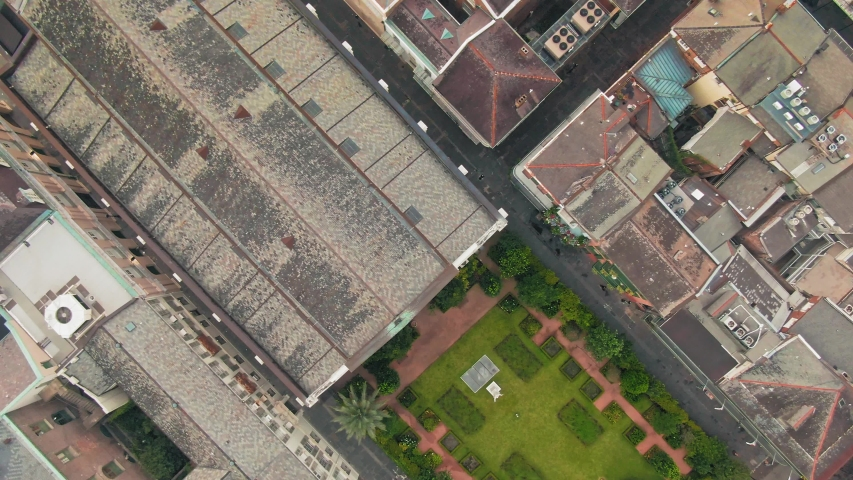 Aerial: Houses in the French Quarter of New Orleans. USA