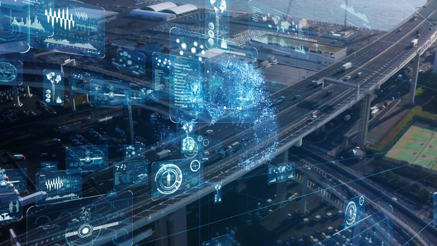 Transportation and technology concept. ITS (Intelligent Transport Systems). Mobility as a service. | Shutterstock HD Video #1047743971