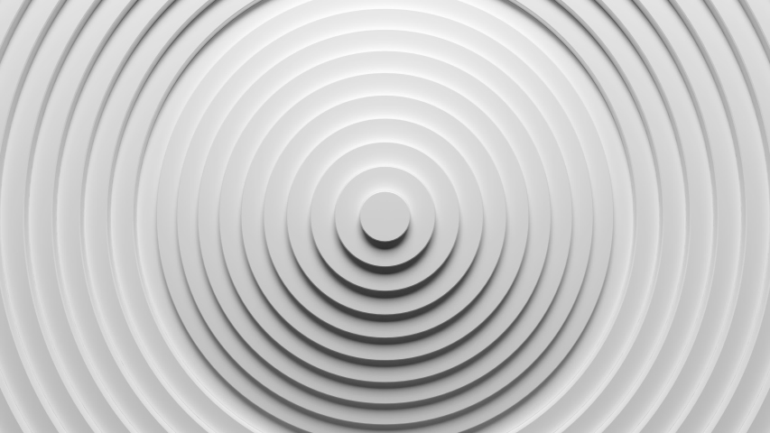 Abstract 3d circles ring pattern animation background with ripple effect. Sound wave motion graphic for business presentation backdrop. 4K seamless loop clean and clear white texture. #1047745435