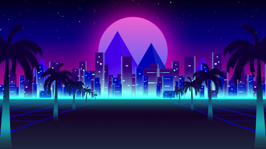 Animation of seamless loop with highway road markings moving fast towards horizon with palm trees, cityscape, mountains and pink glowing moon with turquoise glowing line and pink to blue gradient sky | Shutterstock HD Video #1047771304