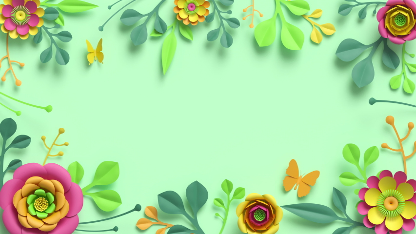 Festive floral frame animation. Blank botanical template with copy space. Colorful paper flowers and green leaves growing, appearing on pastel mint background. Decorative floral arrangement