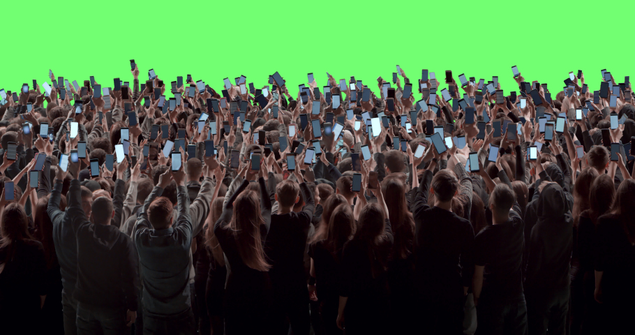 GREEN SCREEN Back view huge crowd of people with phones in hands at live concert or show. Shot on RED Helium 8K, Prores 4444 | Shutterstock HD Video #1047810391