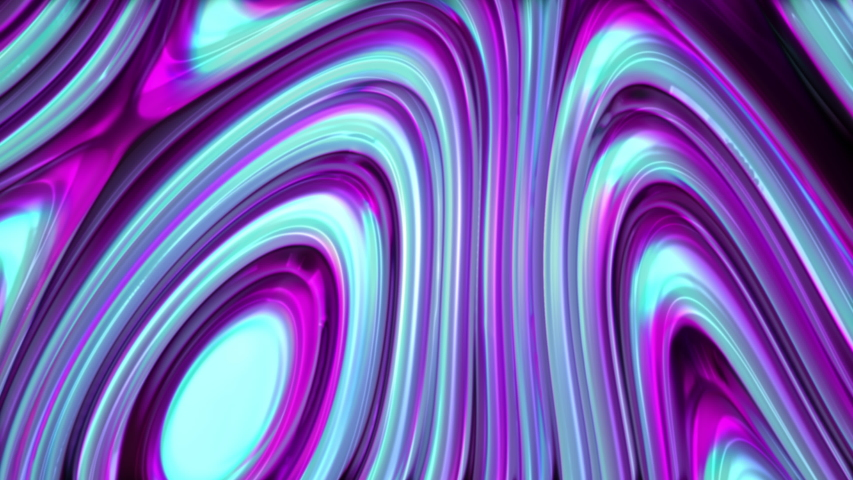4K animation of fluid colorful neon background. 3d render of blue, violet, pink fluid waves of glass. Video for abstract background. | Shutterstock HD Video #1047810541