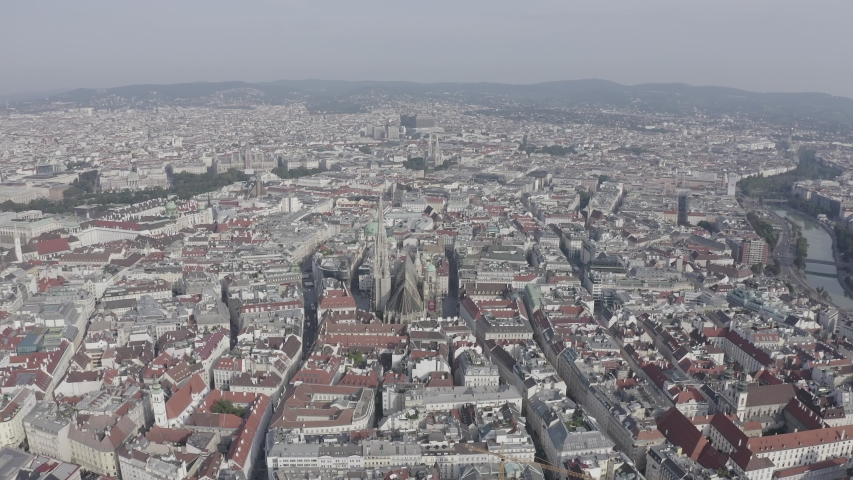 D-Log. Vienna, Austria. St. Stephen's Cathedral (Germany: Stephansdom). Catholic Cathedral - the national symbol of Austria, Aerial View | Shutterstock HD Video #1047857962
