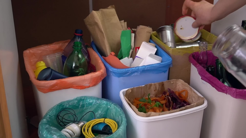 Household kitchen waste sorting system. Waste Recycling, recyclable materials. Plastic bottles, paper, carton, glass bottles and jars, metal packaging, compost, electronic equipment, small battery