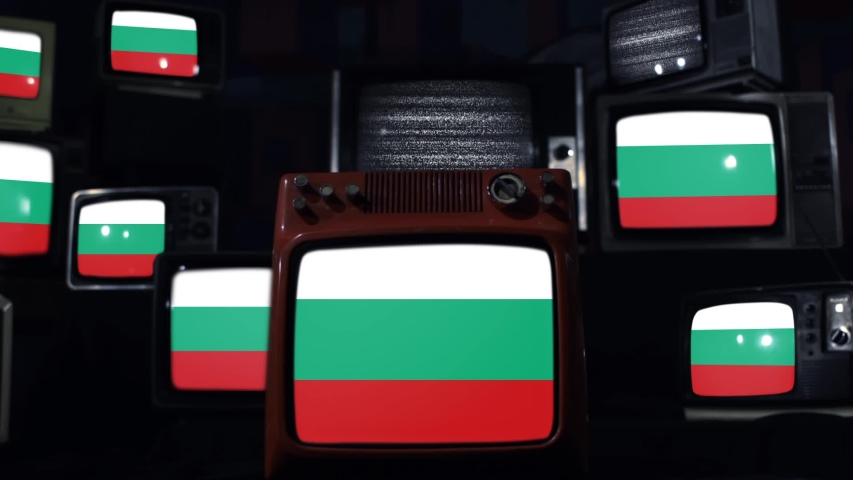 Bulgaria Flags And Retro Tvs. | Shutterstock HD Video #1047876694