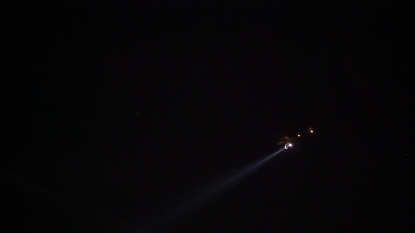 911 Police chopper searching for suspect at night in Los Angeles