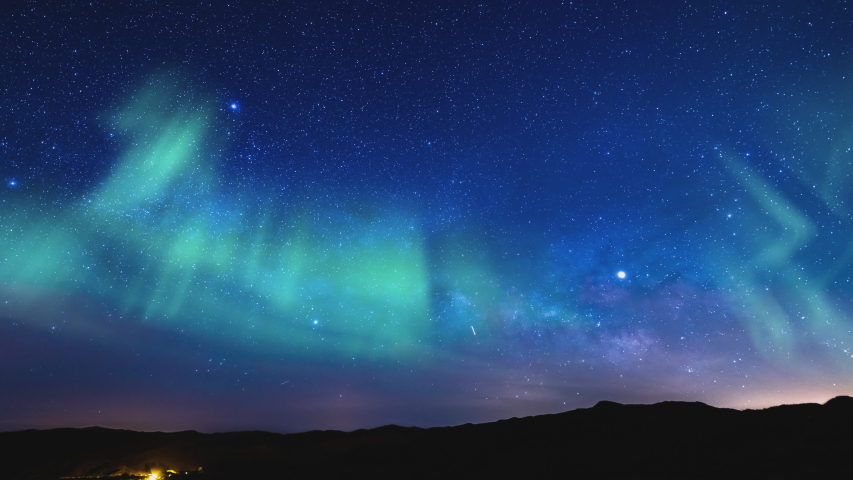 Aurora Borealis Milky Way Rise Time Lapse Southeast Sky Wide Shot Simulated Northern Lights