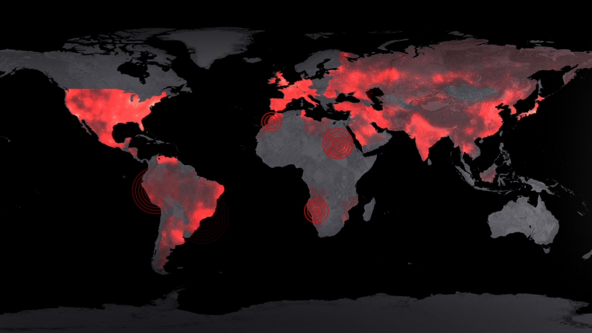 Corona virus map disease spreading animation animation