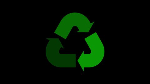Recycle arrow motion graphic animation on transparent background with alpha channel. Loop.