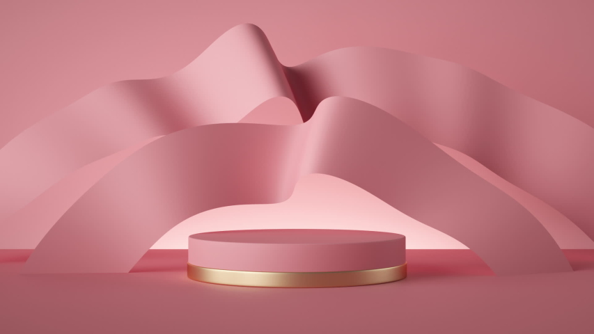 abstract pink fashion background loop animation, empty cylinder podium, vacant pedestal, waving silk ribbons. Modern minimal motion design. Product display, platform, stand. Commercial showcase mockup Royalty-Free Stock Footage #1047939919