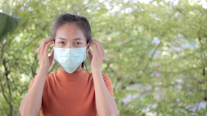 Footage young asian people wear masks to prevent disease Covid-19. Concept video. Commercial video.   Shutterstock HD Video #1047946243