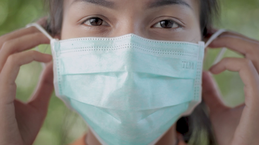 Footage young asian people wear masks to prevent disease Covid-19. Concept video. Commercial video.   Shutterstock HD Video #1047946246