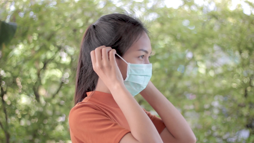 Footage young asian people wear masks to prevent disease Covid-19. Concept video. Commercial video.   Shutterstock HD Video #1047946252