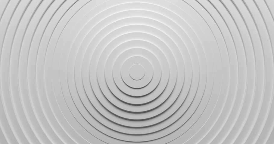 Abstract 3d circles ring pattern animation background with ripple effect. Sound wave motion graphic for business presentation backdrop. 4K seamless loop clean and clear white texture. #1047950263
