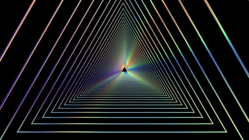 Holographic triangular tunnel moving into the distance, holographic geometric background, abstract three-dimensional background with metal spectral radiance, long tunnel