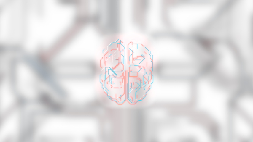 Mindfulness concept. Hud style brain structure over blurred motherboard light background. | Shutterstock HD Video #1047982714