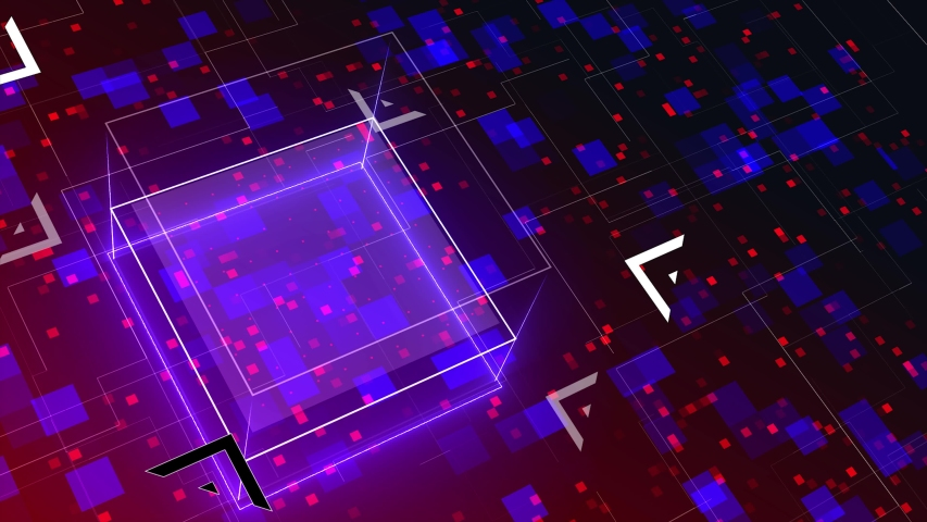 Abstract hologram in with futuristic matrix. Digital buildings with a binary code particles network. Technological and connection motion background. Seamless loop 3D Animation  | Shutterstock HD Video #1048019641