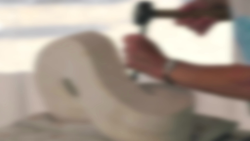 Abstract blurred stonemason using a chisel to carve a stone sculpture by hand   Shutterstock HD Video #1048043977