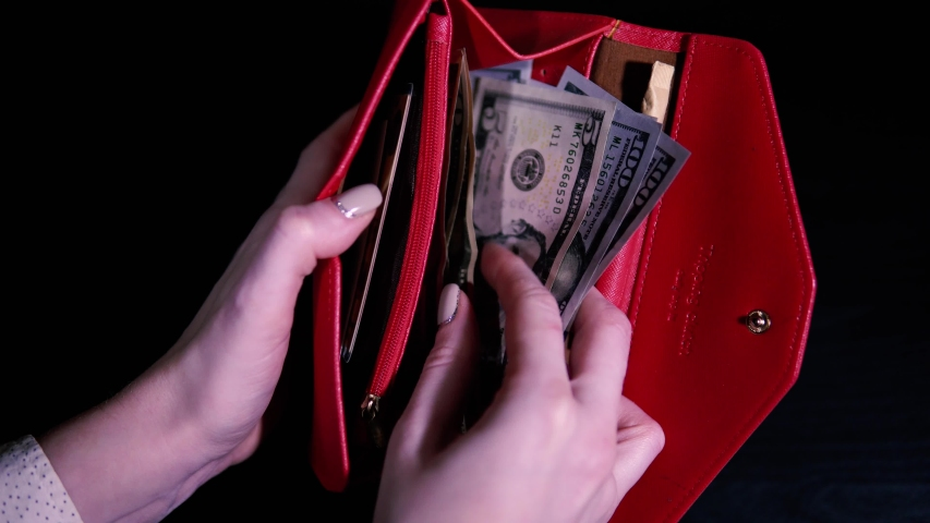 The girl opens the red wallet and counts the money, then closes it. Earnings in the United States. Minimum cash allowance. Point of view shot. Royalty-Free Stock Footage #1048045819