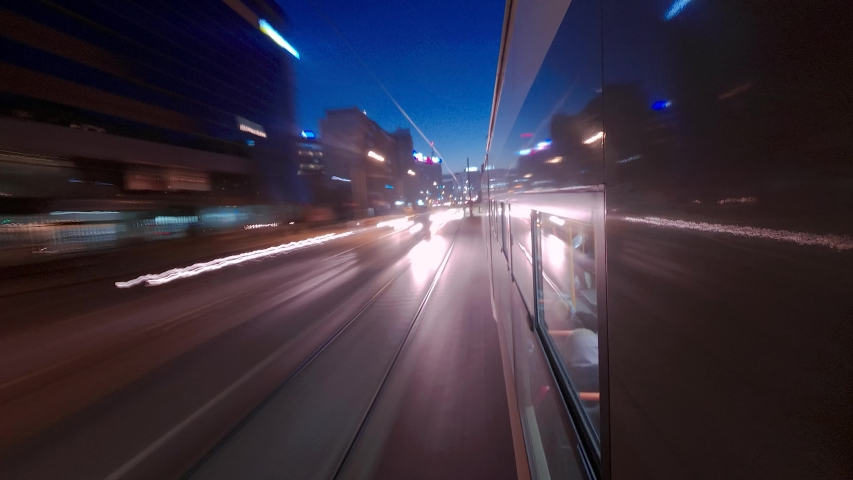 Hyper lapse Time Lapse Of City Centre Traffic Streets Point Of View From A Tram   In Bucharest  | Shutterstock HD Video #1048058773