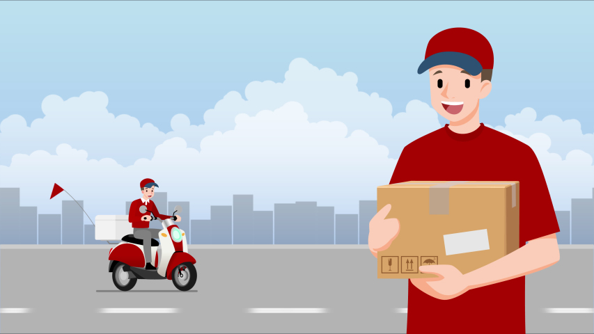 Delivery man stand and holding a goods parcel in front of a delivery motorbike that going to fast express, deliver food or product to customer with city in the background. | Shutterstock HD Video #1048060714