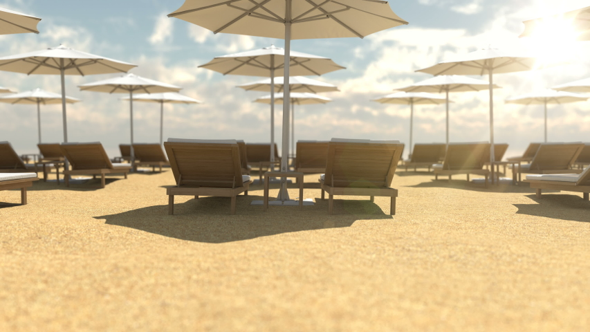 Empty wooden deck chairs and umbrellas for protection from sun beams. Animation scene of empty luxury sandy resort with beach chairs and umbrellas. Lounge chairs ready to take rest people, no people. | Shutterstock HD Video #1048069003