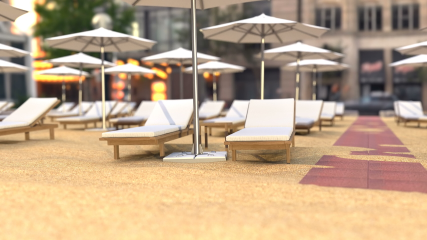 View on empty beach chairs and umbrellas on the sand near the entrance to the first line luxury hotel. Animation sunset or morning scene of loungers, deck chairs and opened umbrellas. No people. | Shutterstock HD Video #1048069006