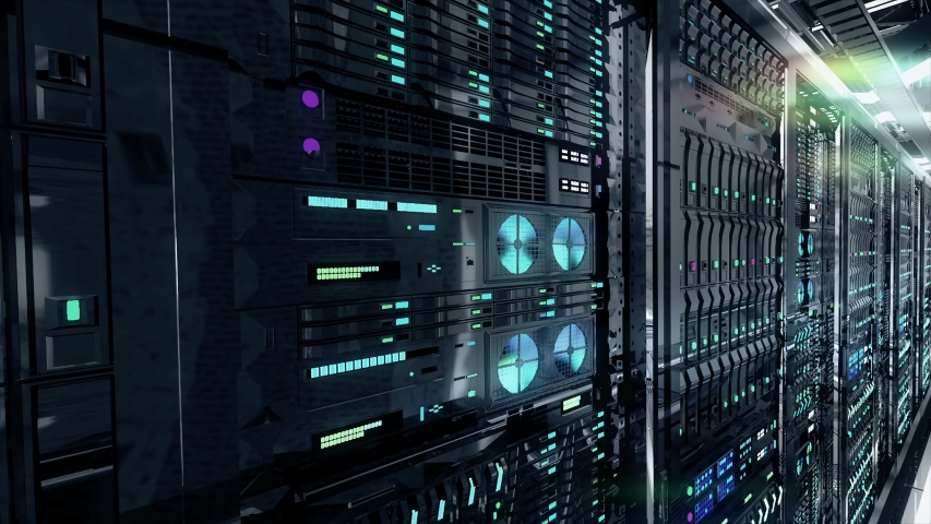Camera Moves Along Working Rack Servers in data center showing server equipment with lights indicators, close up view. Seamless looped, 4K | Shutterstock HD Video #1048082959