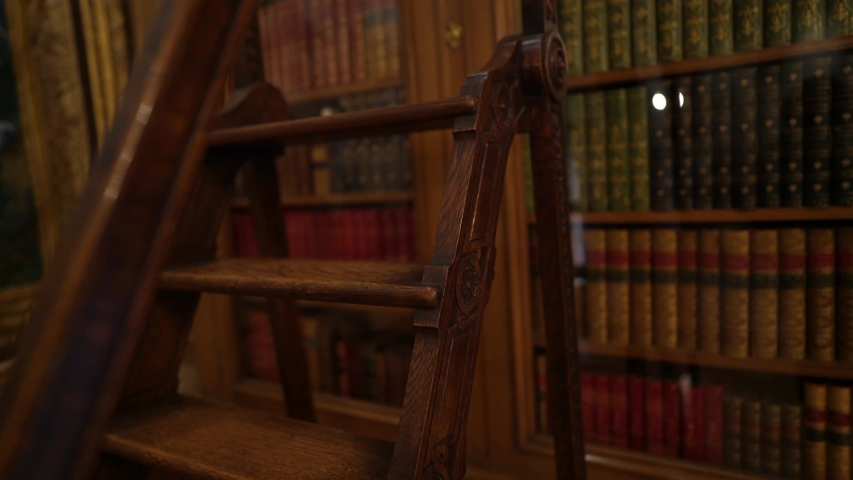 This panning up video shows old wooden library stairs and a beautiful book case. Royalty-Free Stock Footage #1048091197