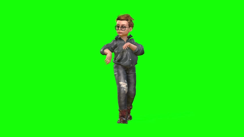 4k 3d animation of a small avatar boy wearing glasses, walking on tiptoes, running and posing  #1048116832
