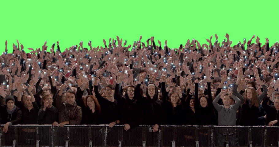 GREEN SCREEN Front view huge crowd of people with phones in hands at live concert or show. Shot on RED Helium 8K, Prores 4444 | Shutterstock HD Video #1048117528