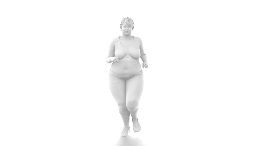 Obese overweight woman to slim - healthy lifestyle concept with  alpha channel