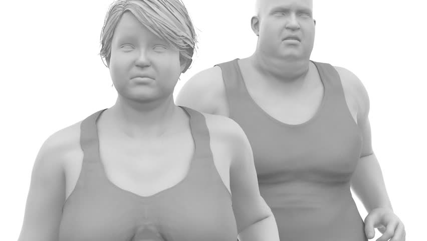 Obese overweight man and woman to slim - healthy lifestyle concept with  alpha channel